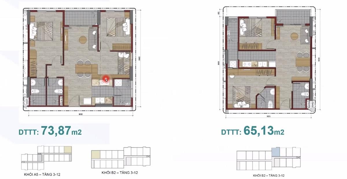 Thiết kế căn hộ 73m2 Ehome Waterpoint Nam Long tại Long An